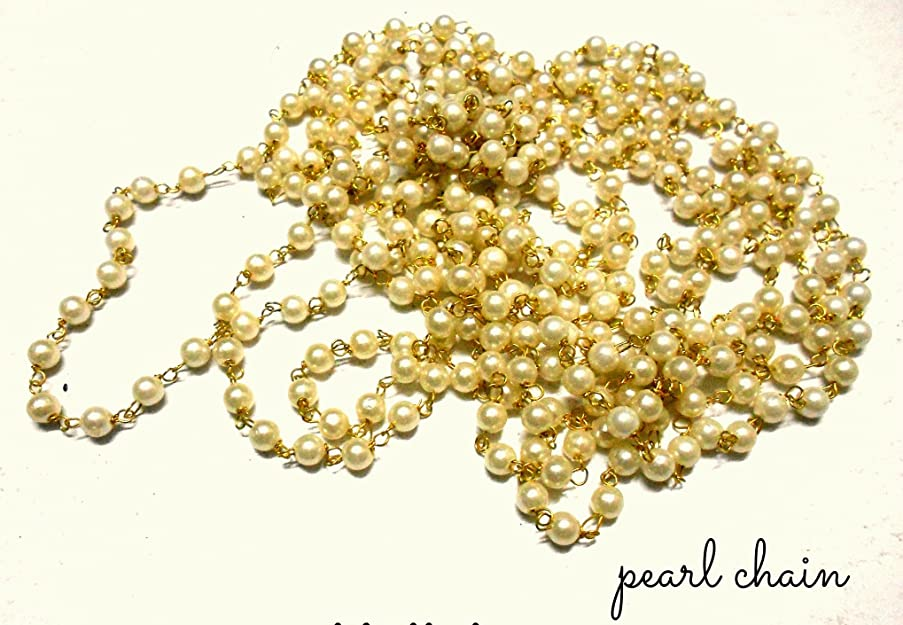 GOELX Pearl Link Chain For Connecting Jhumkis,Bracelets,Necklace,Crafts Etc