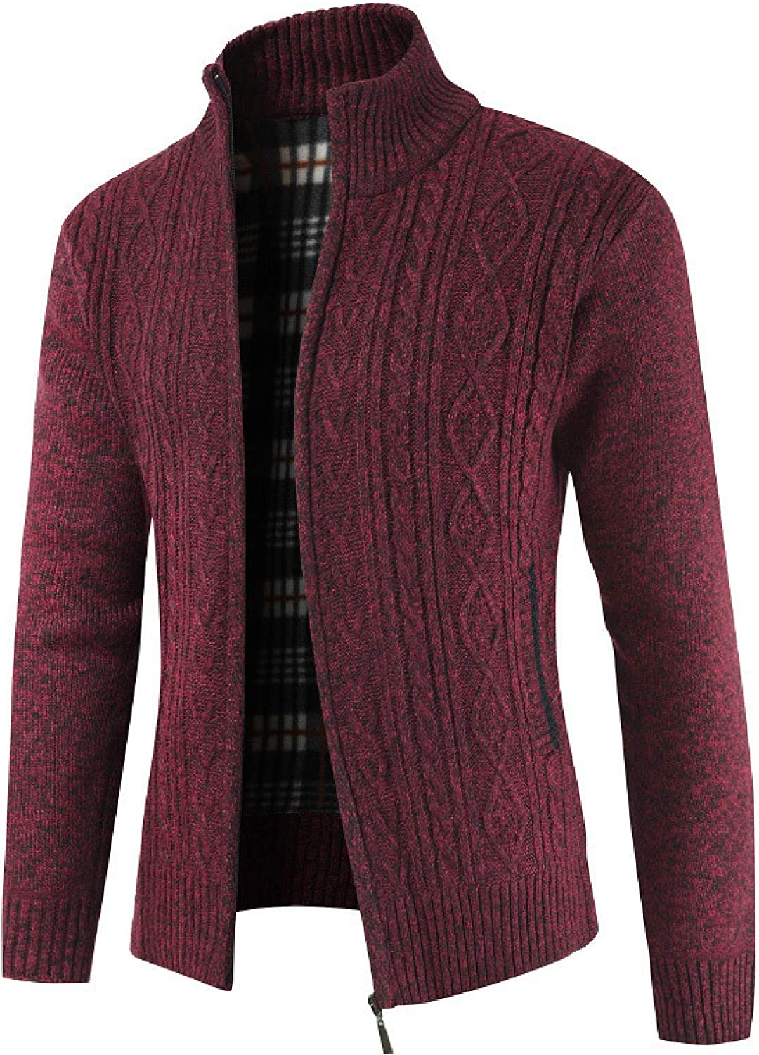 Men's Vintage Cardigan Thickened Knit Sweater Stand-up Collar Business Soft