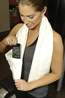 Sports Towel with Pockets. Bamboo/Cotton Terry. Gym, Workout, Fitness, Yoga, Spinning, Pilates. Great for wireless devices. Unique Gift Idea
