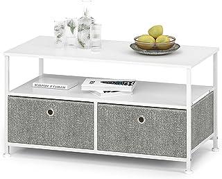 Soffbord soffbord metall med 2 lådor i tyg och öppet fack soffbord kvadratiskt TV-skåp litet med organisationslådor av trä...