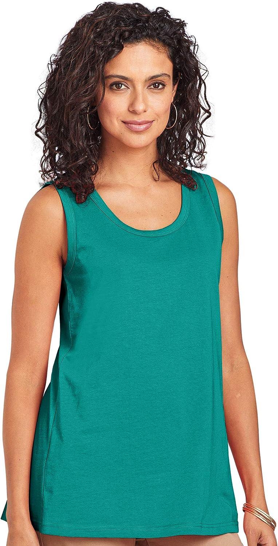 ANTHONY RICHARDS Women's Cotton Tank Top Casual Sleeveless T-Shirt Scoop Neck Hip Length