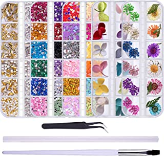 Duufin 3840 Pcs Nail Rhinestones 24 Colors Dried Flower Nail Art Nail Crystal Diamonds Nail Studs for Tips Manicure Decor Mixed Accessories with a Tweezers 1 Pc Wax Pen and 1 Pc Brush Pen