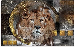Canvas Wall Art- Lion Face Painting Picture Animal Portraits Artwork Stretching Ready to Hang for Living Room Bedroom Home Decorations (Golden)