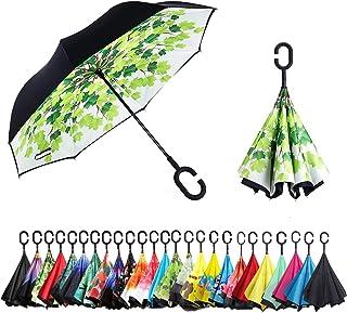 Sumeber 逆転傘 逆さ傘 逆折り式傘 自立傘 長傘 手離れC型手元 耐風 撥水加工 晴雨兼用 ビジネス用 車用 UVカット遮光遮熱 傘袋/ケース付き (緑の葉)