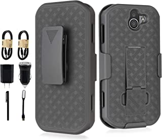 Duraforce Pro 2 Case with Clip, 6goodeals, [with Tempered Glass] Kickstand Cover with [Rotating/Ratchet] Belt Hip Holster Combo for Kyocera Duraforce Pro-2 Phone (E6910) [Value Bundle]