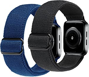 ULUQ Compatible with Apple Watch Bands 44mm 42mm for iWatch Series 6 5 4 3 2 1 SE, Adjustable Stretch Strap, Sport Elastics Wristbands Women Men, 2Pack