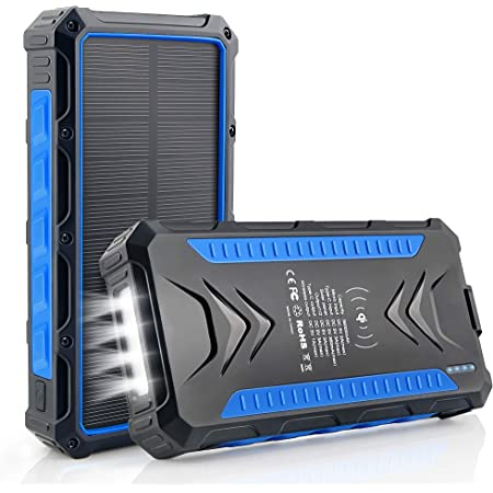 Solar Power Bank 36000mAh, Qi Wireless Charger, DJROLL Portable Solar Charger with Dual USB & Type-C Port 5V/3A Output, IP66 Waterproof Powerbank, Flashlights Cell Phone Charger for Camping Outdoor