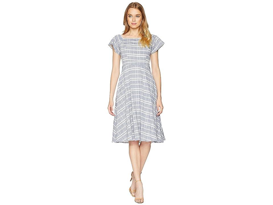 Adelyn Rae Keenan Woven Tie Back Midi Dress (Indigo/White) Women