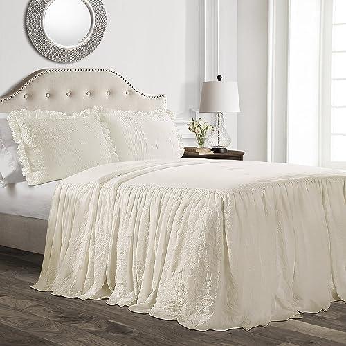 Lush Decor Ruffle Skirt Bedspread Ivory Shabby Chic Farmhouse Style Lightweight 3 Piece Set, Queen