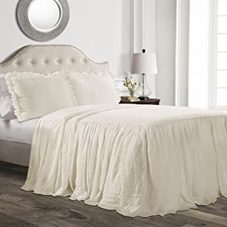 Lush Décor Ruffle Skirt Bedspread Ivory Shabby Chic Farmhouse Style Lightweight 3 Piece Set, King,