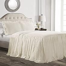 Lush Décor Ruffle Skirt Bedspread Ivory Shabby Chic Farmhouse Style Lightweight 3 Piece Set, King,