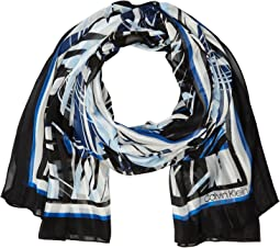 Calvin Klein Abstract Tropical Shadow Stripe Scarf