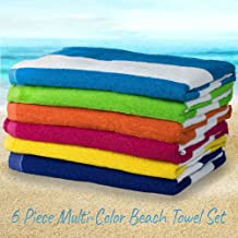 HowPlumb Large Beach Pool Towel Striped Cotton Blend, Cabana Stripe Variety 6 Pack, 30-in. x 60-in.