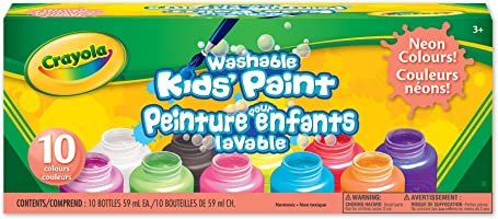 Crayola Washable Neon Paint, School, Craft, Painting and Art Supplies, Kids, Ages 3,4, 5, 6 and Up, Holiday Toys,...