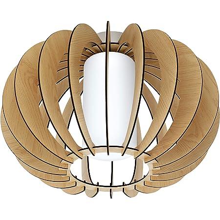Eglo Plafonnier Stellato 1, 1 Ampoule Vintage, Lampe de Salon en Acier, Bois et Verre en Nickel Mat, Érable, Blanc, Lampe de Cuisine, Plafonnier avec Douille E27