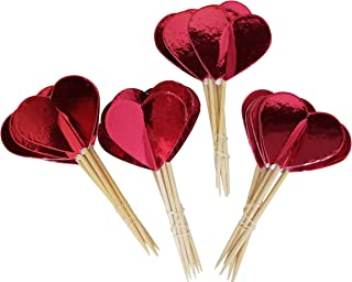 Red Heart Cupcake Toppers - Party Pick Decorations, 24 Pack
