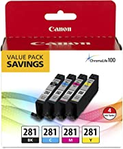 Canon CLI-281 Black, Cyan, Magenta and Yellow 4 Ink-Pack, Compatible to IB4120, MB5420, MB5120, IB4020, MB5020, MB5320