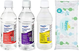 Magnesium Citrate Oral Solution Saline Laxative Pack of 3 Flavors. One Each of Lemon, Grape and Cherry. Wipes