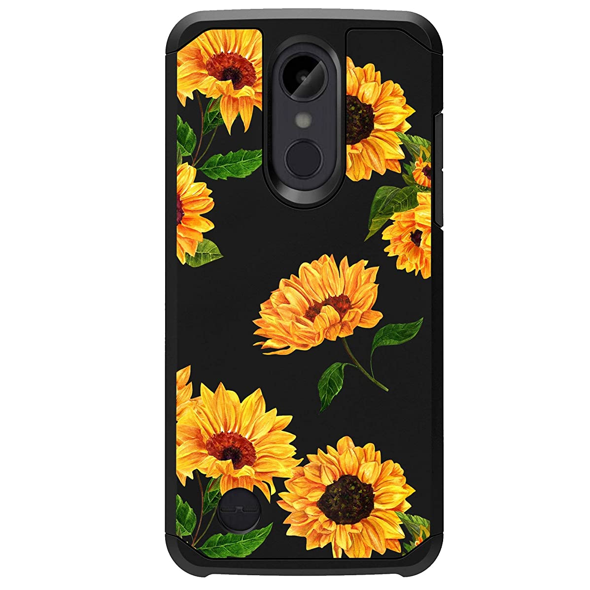 MINITURTLE Case Compatible w/LG Rebel 2, LG Phoenix 3, LG Fortune, LG Risio 2 [Floral Print Series][Cute Hybrid Case for Girls][Floral Print][2-Part Silicone & Shell Case] - Sunflowers