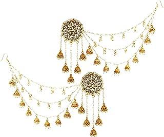 Rajwada Kundan & Pearls Five Jhumkis Long Earrings With Attached Nine Jhumki & Pearls Chain For Women (JWL1955)