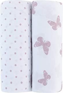 Adrienne Vittadini Bambini Jersey Cotton Pack N Play Sheets 2 Pack Lavendar Butterfly & Dots, Lavender