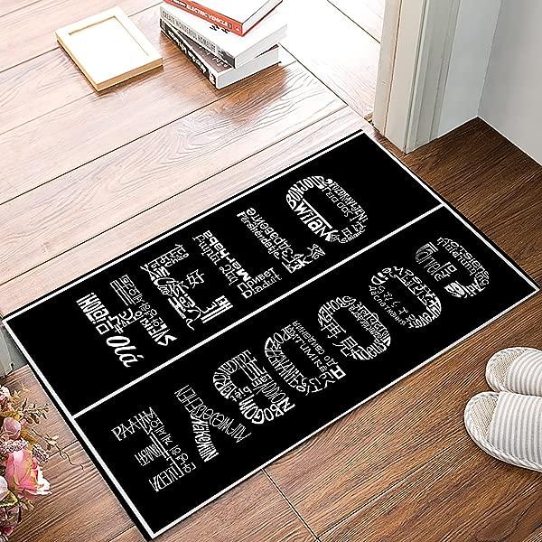 Olivefox Funny Waterproof Bathroom Doormat Home Decor Welcome Large Mat Entrance Way Indoor Outdoor Carpet Floor Rugs 30x18 Inch Hello And Goodbye Black