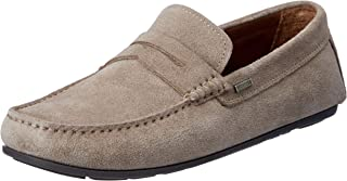 TOMMY HILFIGER Men's Classic Suede Penny Loafer Flats, Grey