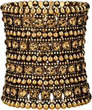 YACQ Women's Multilayer Stretch Cuff Bracelets Fit Wrist Size 6-1/2 to 7-1/2 Inch - Soft Elastic Band & 4 Row Crystals - 2-3/4 Inch Wide - Lead & Nickle Free