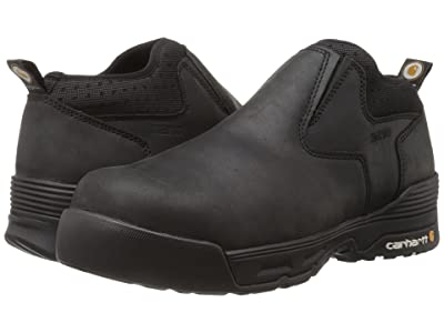 Carhartt 4 Comp Toe Waterproof Slip-On (Black Coated Leather) Men