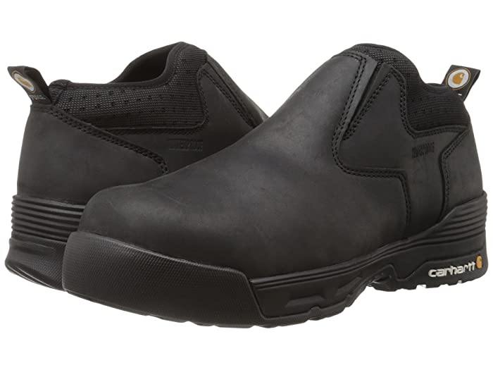 Carhartt  4 Comp Toe Waterproof Slip-On (Black Coated Leather) Mens Waterproof Boots