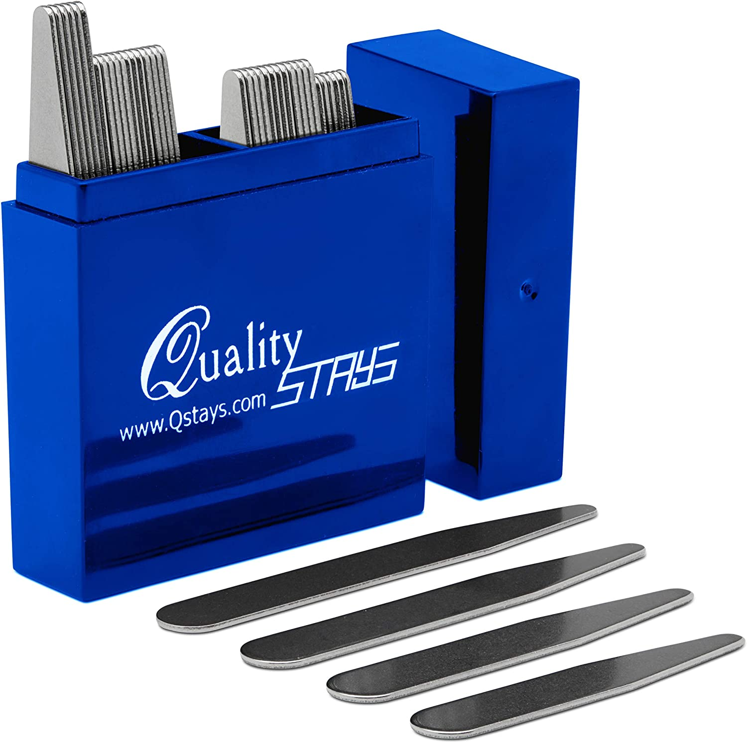 36 Stainless Steel Collar Stays for Men in Sapphire Box, Order the Sizes You Need (36 Collar Stays - 2.2
