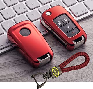 BINOWEN Premium Soft TPU Half Cover Protection Smart Remote Key Fob Cover with Have Logo Keychain Fit for Buick Lacrosse Regal Verano Excelle GL8 Chevrolet Camaro Cruze Equinox Malibu Sonic Spark