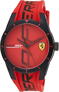 Ferrari Mens Quartz Watch, Analog Display and Silicone Strap 830617