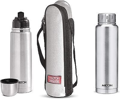 Milton Thermosteel Flip Lid Flask, 500 millilitres, Silver & Thermosteel Elfin 750 ml Bottle, Steel Plain Combo