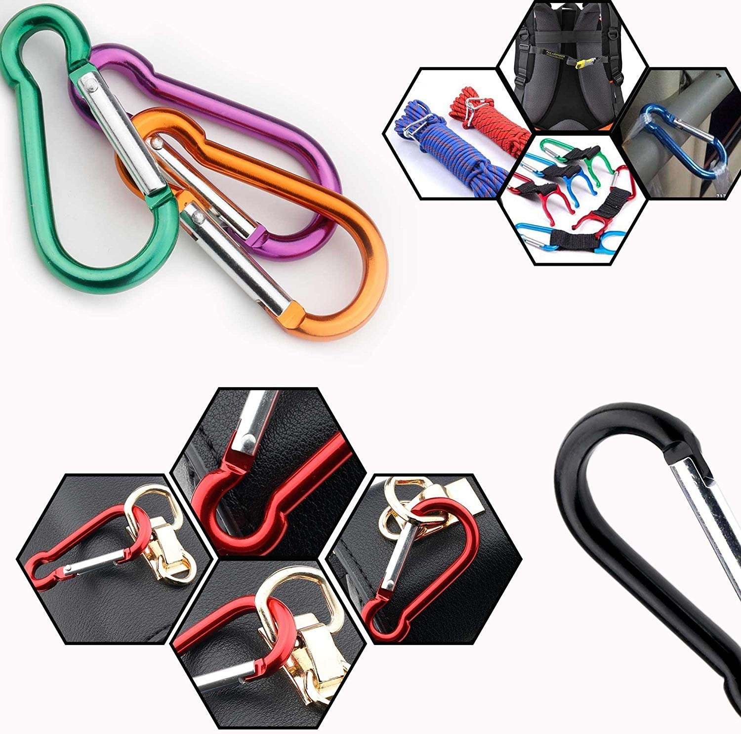 Small//Mini Carabiner for Key Chain Climbing Camping Fishing Hiking Travaling Multicolored Gimars Spring-loaded Gate Carabiner Clips 6cm D Shape with Locking Screw Nuts