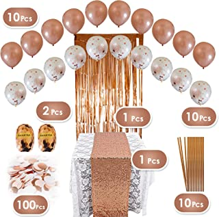 Rose Gold Party Decorations Set - 134 pc Pink and Gold Party Supplies - Perfect Decor for Birthday Party, Bachelorette Parties, Bridal or Baby Shower - psrg2019a
