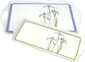 Corelle Coordinates Rectangular and Tidbit Serving Tray Set, White, Shadow Iris