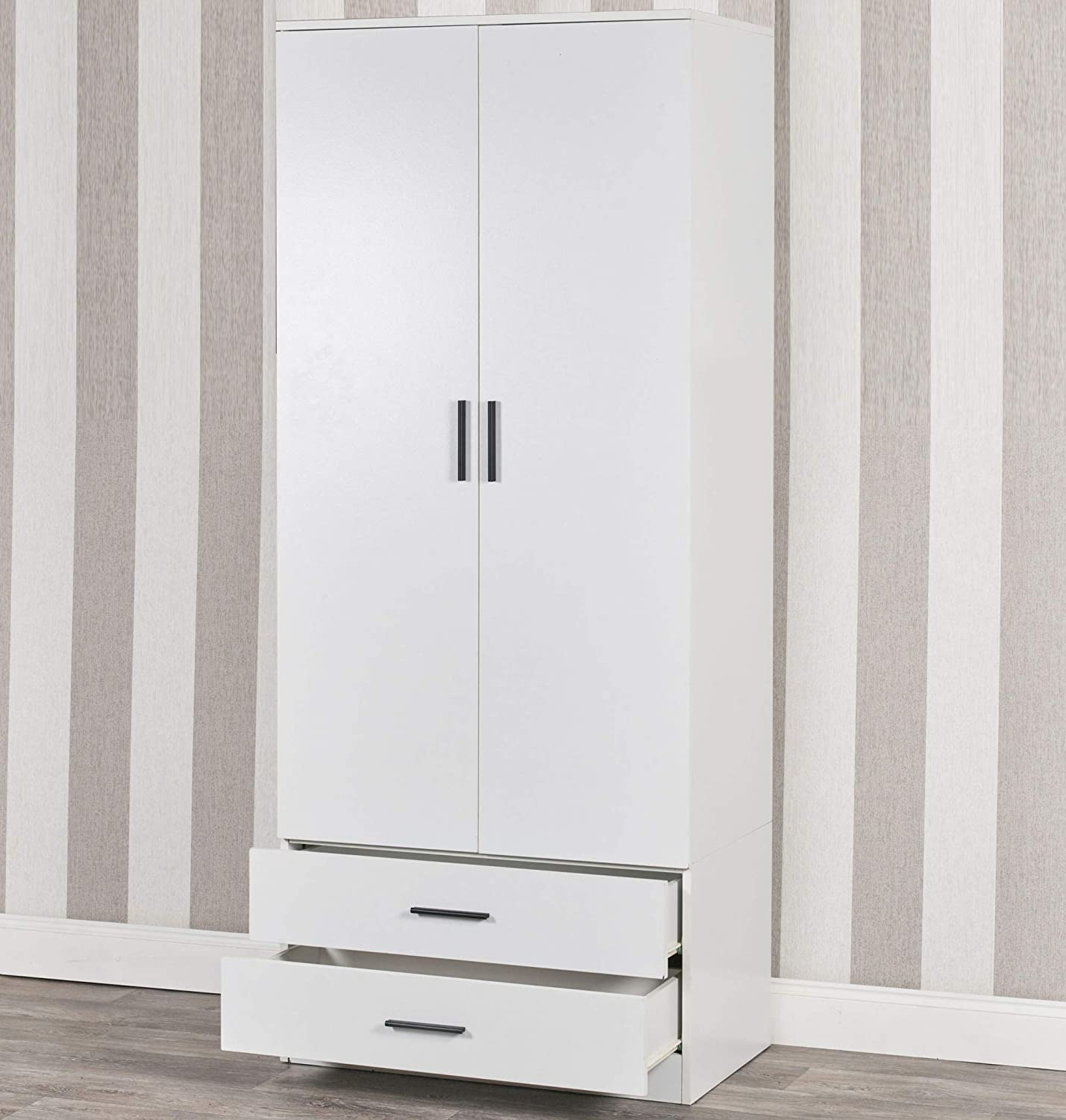 Tall Wooden White 2 Door Wardrobe With 2 Drawers Bedroom Storage Hanging Bar Clothes White Carcass + Black Drawers