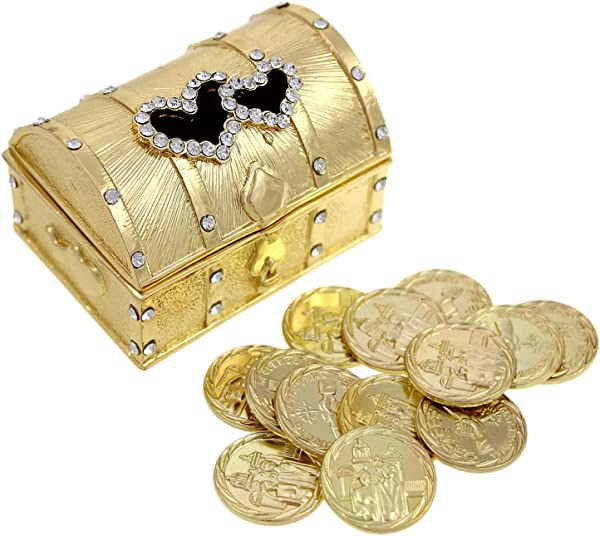 Wedding Unity Coin Set Arras De Boda Treasure Double Heart Chest Box With Decorative Rhinestone Crystals 68 Gold