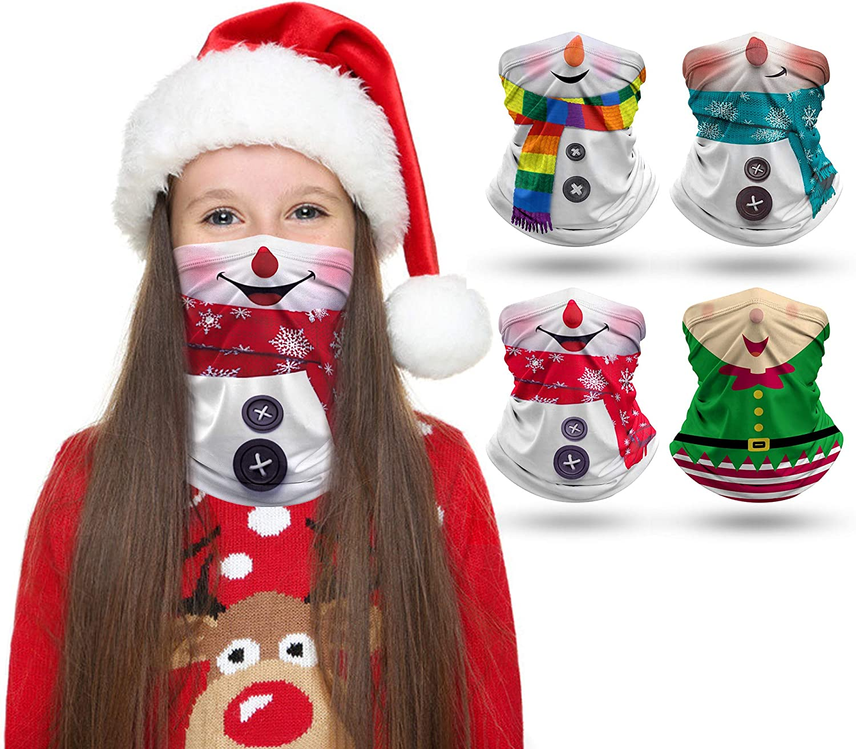4 PCS Kids Face Mask Neck Gaiters Full-Coverage Bandanas Headband Tube Neck for Boys Girls