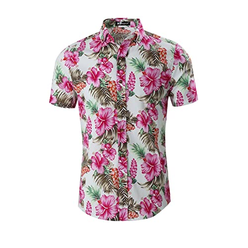 24fabafe5f9 uxcell Men Slim Fit Floral Print Short Sleeve Button Down Beach Hawaiian  Shirt