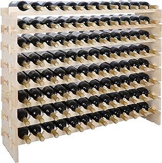 Smartxchoices 96 Bottle Stackable Modular Wine Rack Wooden Wine Storage Rack Free Standing Wine Holder Display Shelves, Wobble-Free, Solid Wood, (8 Row, 96 Bottle Capacity) (96 Bottle)
