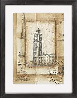 Surya LJ4046 Ethan Harper Passport to Big Ben Framed Architecture Wall Art, 26 by 33-Inch