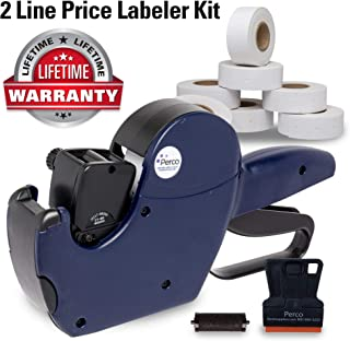 Perco 2 Line Price Gun Labeler Kit - Includes 2 Line Pricing Gun, 10,500 Plain White Labels, and Preloaded Inker