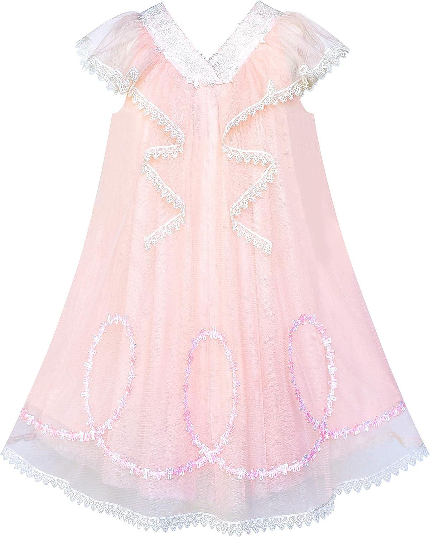 Sunny Fashion Girls Dress A-line Pink Ruffle Birthday Party Size 4-10