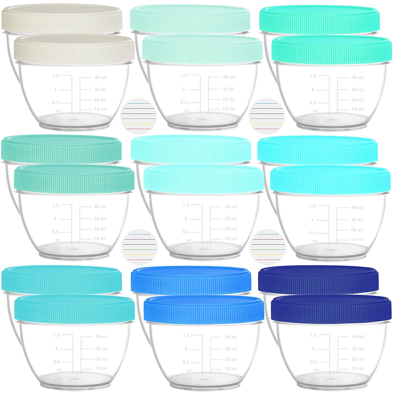 Youngever 18 Sets Baby Food Storage, 2 Ounce Plastic Baby Food Containers with Lids and Labels (Coastal Colors)