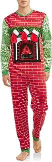Mens Lighted Ugly Fireplace Stocking Christmas Sweater Union Suit Pajamas