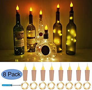 Flame Cork Lights for Wine Bottle 8 Pack Battery Operated LED Candle Flameless Tealight Cork Fairy Mini String Flame Cork Light for Party Christmas Halloween Wedding DIY Decor (Candle Top)
