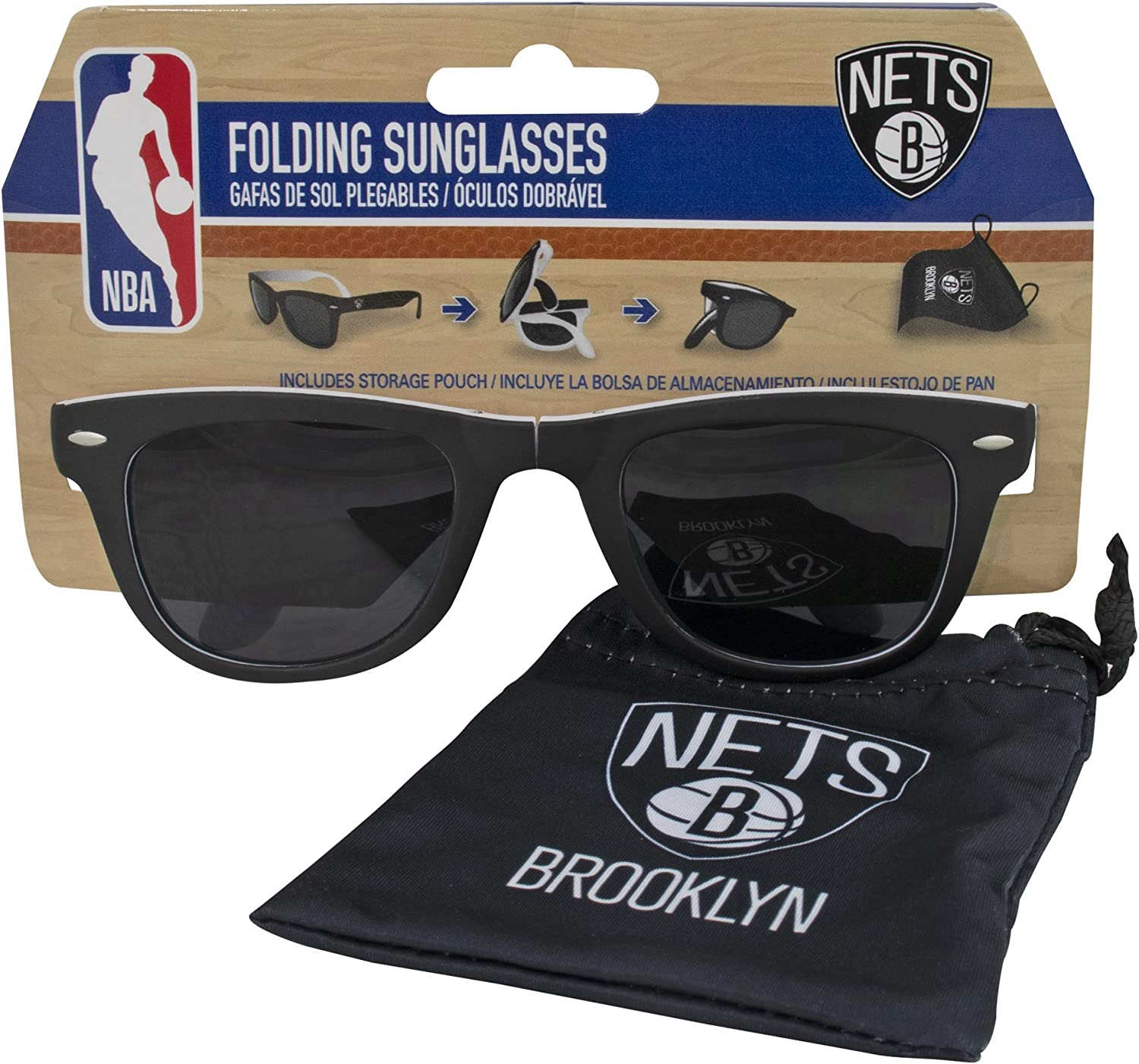 Brooklyn Nets Folding Sunglasses Max Spring new work one after another 90% OFF Carrier with Pouch