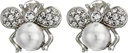 Silver Crystal Bug Ear White Pearl Body Clip Earrings